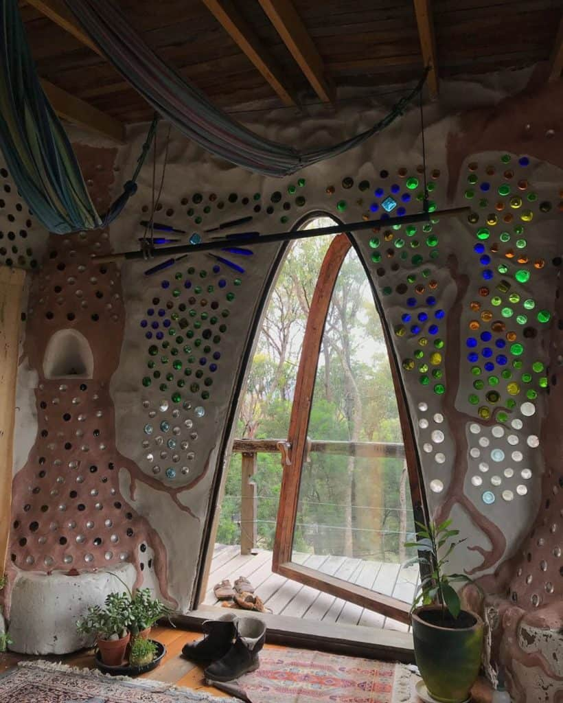 earthship tiny home made with water bottles
