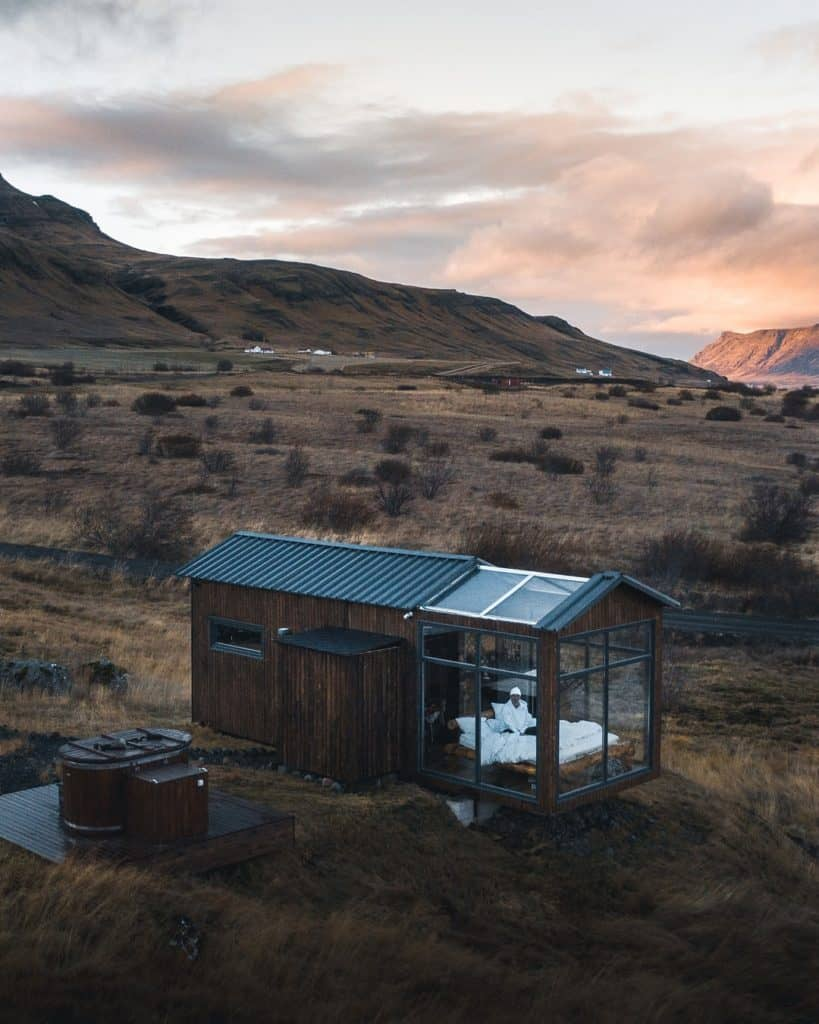Glass tiny home in Iceland