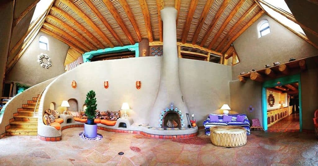 earthship with fireplace