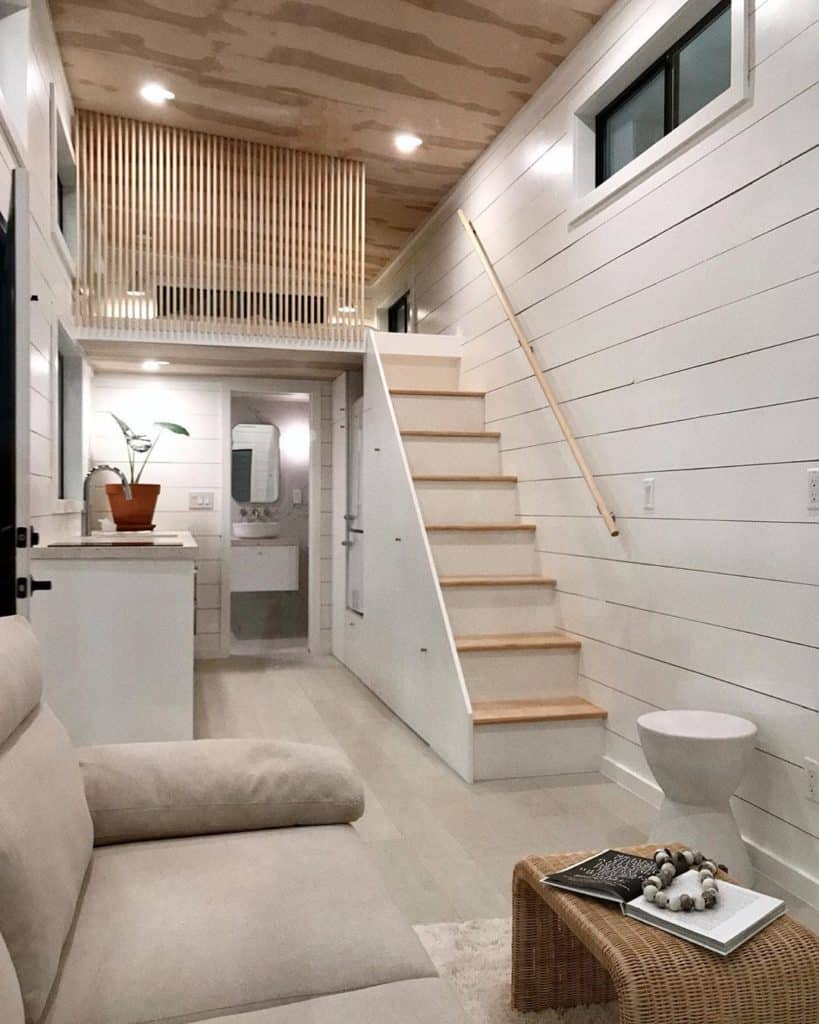 tiny bungalow with staircase