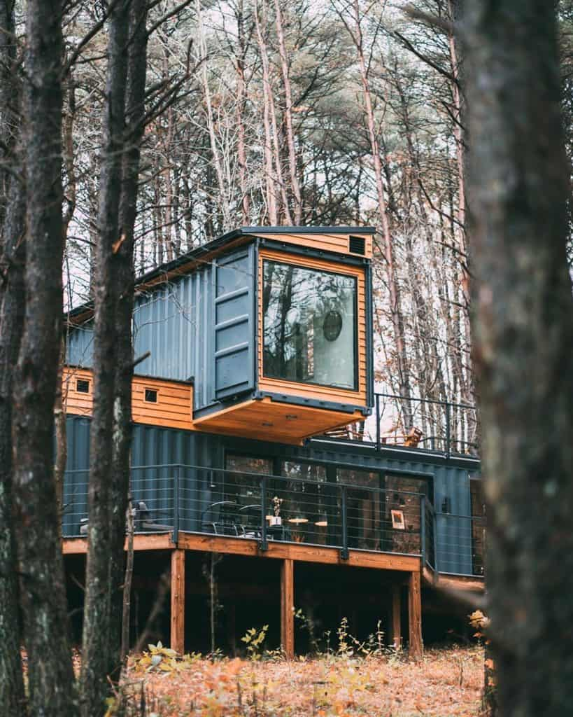 shipping container tiny home with multiple levels